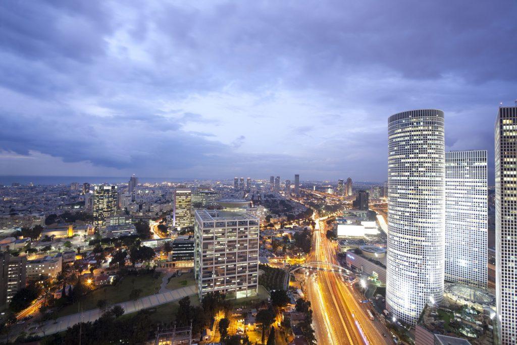 6339809 – night city, tel aviv at sunset, israel