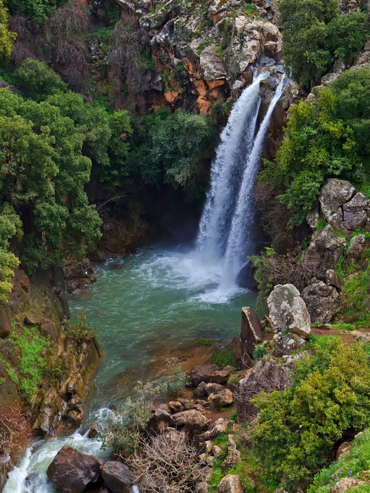 11262933 – banias waterfall in the spring at the golan heights (israel).