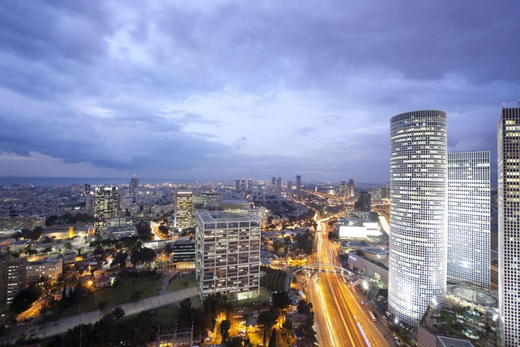 6339809 – night city, tel aviv at sunset, israel